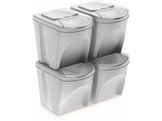 Prosperplast koš za smeti, sortirani 4× 25 l PH, bel