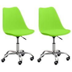 shumee Pisarniški stoli 2 kosa zeleno umetno usnje