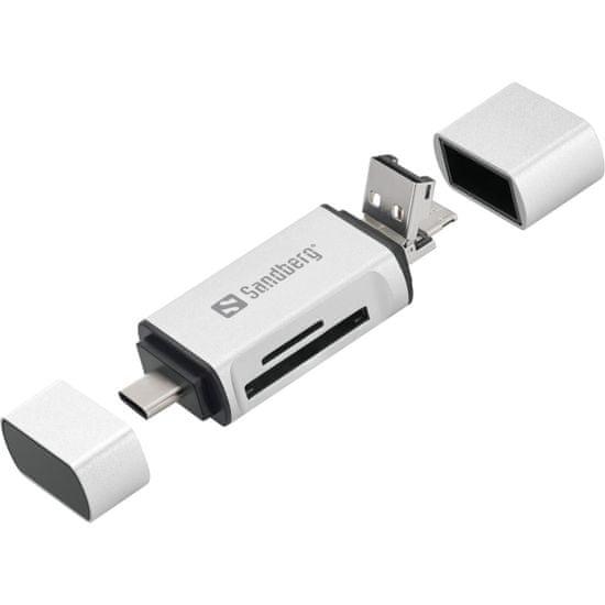 Sandberg čitač kartica USB-C, USB-A, micro-USB