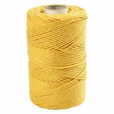 Kraftika Macramé příze 2mm žlutá, vlna, textil hedvábí