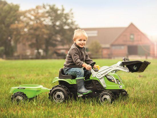 Smoby Farmer Max traktor z nakladalko in prikolico, zelen