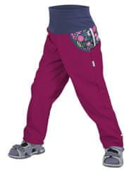 Unuo spodnie dziewczęce softshell, bez ocieplenia, Kwiaty 122/128 różowe