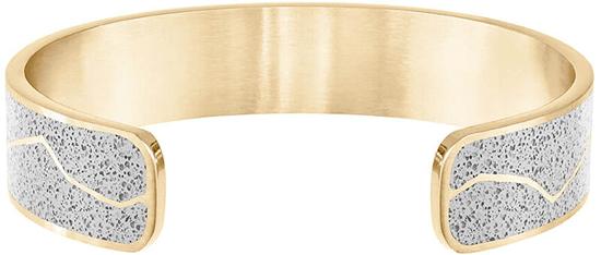 Gravelli Pevný ocelový náramek s betonem Split zlatá/šedá GJBWYGG102UN