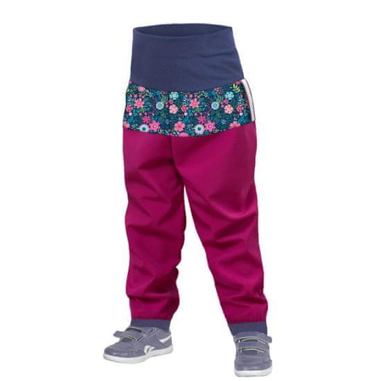 Unuo dievčenské batoľacie softshellové nohavice bez zateplenia Kvetinky