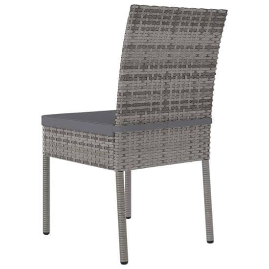 shumee Krzesła ogrodowe, 2 szt., polirattan, szare