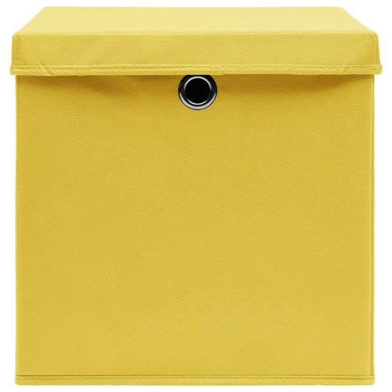 shumee Pudełka z pokrywami, 4 szt., 28x28x28 cm, żółte