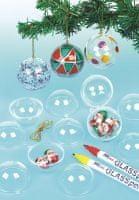Baker Ross Transparentní vánoční koule k zavěšení (12 ks) EX2323
