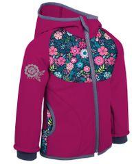 Unuo dievčenská softshellová bunda bez zateplenia Kvetinky 74/80 ružová