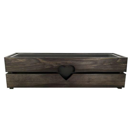 AMADEA Dřevěný obal na truhlík se srdcem - barva, 62x21,5x17cm Český výrobek