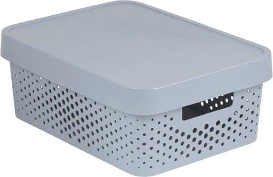 Curver Infinity škatla za shranjevanje s pokrovom, siva s pikami, 11 l