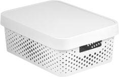 Curver Infinity škatla za shranjevanje s pokrovom, bela s pikami, 11 l