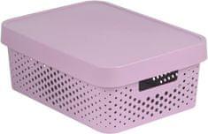 CURVER pudełko INFINITY 11l z pokrywą w różowe kropki