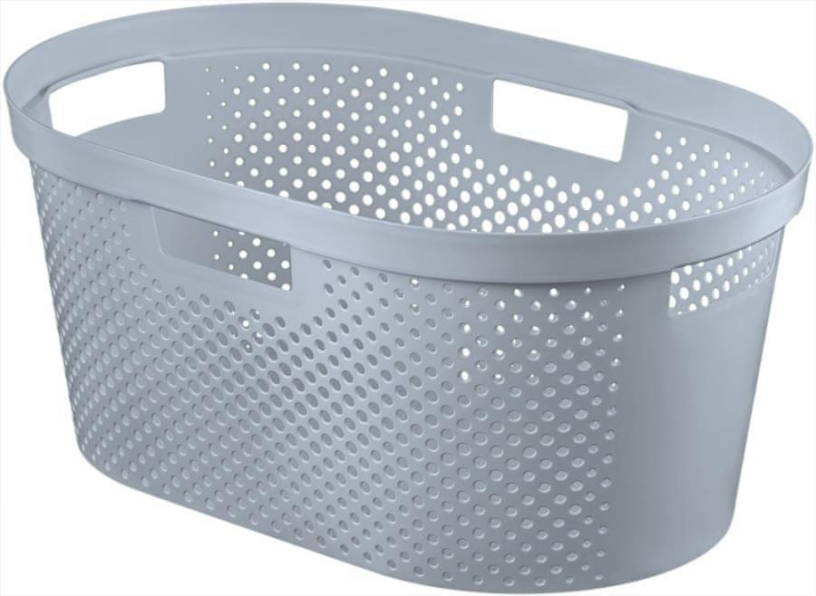 Curver Koš na čisté prádlo s puntíky Infinity 39 l šedá