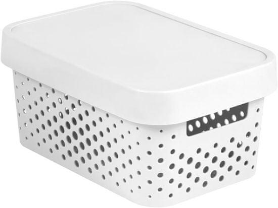Curver Infinity škatla za shranjevanje s pokrovom, bela s pikami, 4,5 l
