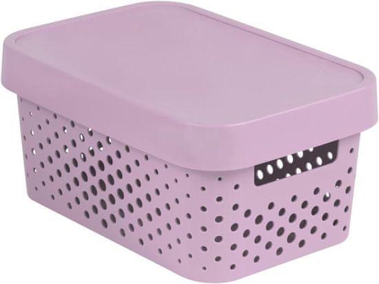 Curver Infinity škatla za shranjevanje s pokrovom, roza s pikami, 4,5 l