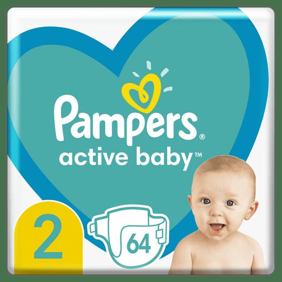 Pampers Active Baby plenice, vel. 2, 4–8 kg, 64 kosov