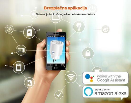 Platinet PSHP16AW pametna vtičnica, 16 A, WiFi, aplikacija Android, bela