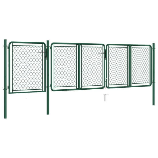 Greatstore Záhradná brána, oceľ 75x395 cm, zelená
