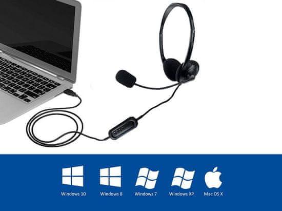 Ewent EW3568 slušalke, USB, mikrofon, črne