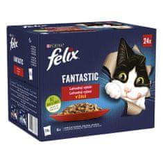 Felix Fantastic s kuřetem, hovězím, králíkem, jehněčím v želé 96 x 85 g