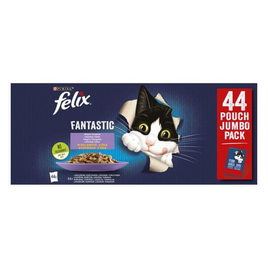 Felix Fantastic s hovädzím, kuraťom, lososom, tuniakom v želé 44 x 85 g