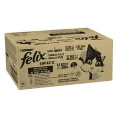 Felix Fantastic s hovězím, kuřetem, tuňákem, treskou v želé 80 x 85 g