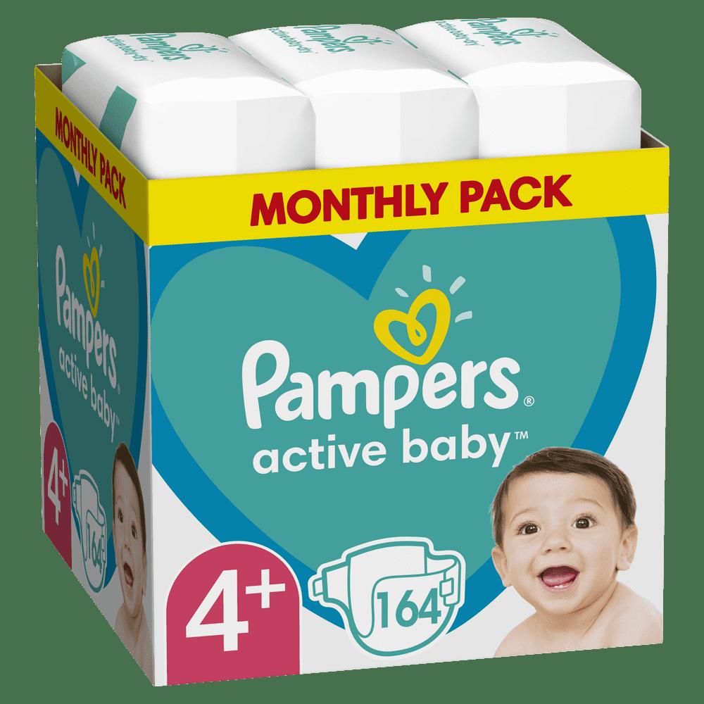 Pampers Active Baby Plenky Velikost 4+ 164 ks, 10kg-15kg