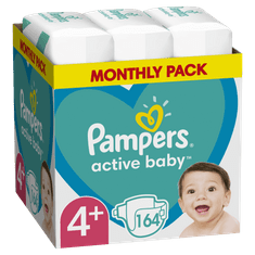 Pampers pieluchy Active Baby rozm. 4+ 164 szt., 10kg-15kg