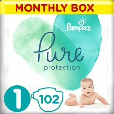 Pampers Pure Protection Plenky, Velikost 1, 102 ks, 2-5 kg