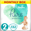 Pampers Pure Protection Plenky, Velikost 2, 132 ks, 4-8 kg