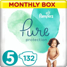 Pampers Pure Protection Pelenka, 5-s méret, 132 db, 11-16 kg