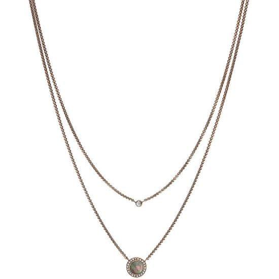 Fossil Dvojitý bronzový náhrdelník s krystaly JF02953791
