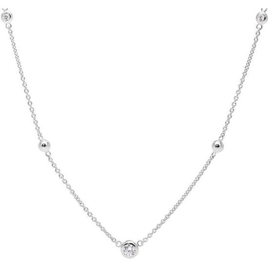 Fossil Stříbrný náhrdelník s krystaly JFS00453040 stříbro 925/1000