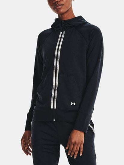 Under Armour Pulover Rival Terry Taped FZ Hoodie-BLK