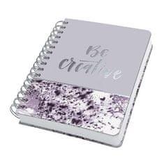 """Sigel Spirálový sešit """"Jolie® Violet Marble"""", 168x215 mm, tečkovaný, 120 listů, tvrdý obal"""