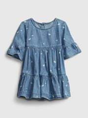 Gap Baby šaty drs dnm prnt fltr slv 3-6M