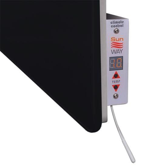 INFRADŮM Skleněný elektrický sušák na ručníky SWGT-RA 800 ČERNÝ