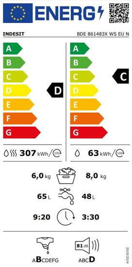 Indesit pračka se sušičkou BDE 861483X WS EU N + 10 let záruka na motor