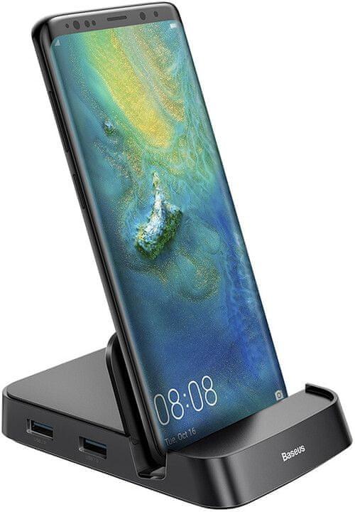 BASEUS Mate Docking multifunkční stolní dokovací stanice na mobilní telefon USB-C CAHUB-AT01