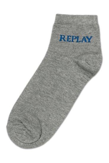 Replay Ponožky Low Cut Basic Leg Logo 3Prs Card Wrap - Grey Mel./Logo Ass C