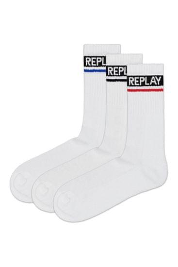 Replay Ponožky Tennis 2 Leg Logo 3Prs Card Wrap - Whitee/Logo Ass Colour