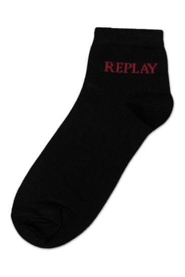 Replay Ponožky Low Cut Basic Leg Logo 3Prs Card Wrap - Black/Logo Ass Colour