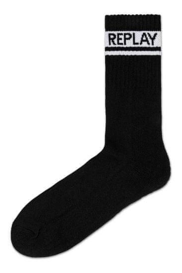 Replay Ponožky Tennis 2 Leg Logo 3Prs Card Wrap - Dark G.M./Black/G.Me