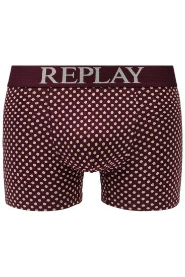 Replay Bokser spodnjice Boxer Style 7 Cuff Logo&Print 2Pcs Box - Bordeaux/Light Grey