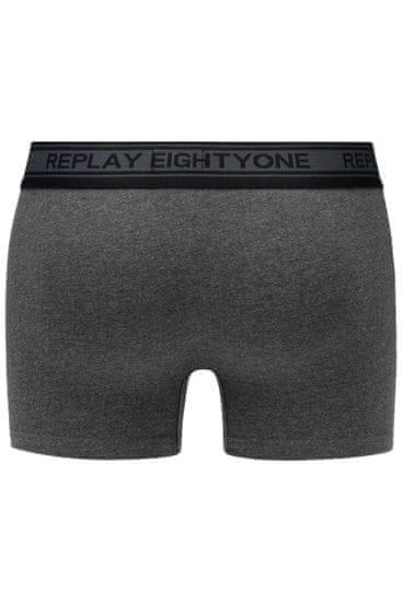 Replay Bokser spodnjice Boxer Style 6 Cuff Logo&Contrast Piping 2Pcs Box - Black/Dark Grey Mel.
