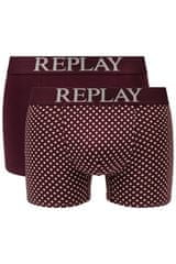 Replay Bokser spodnjice Boxer Style 7 Cuff Logo&Print 2Pcs Box - Bordeaux/Light Grey XL