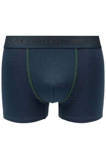 Replay Bokser spodnjice Boxer Style 6 Cuff Logo&Contrast Piping 2Pcs Box - Dark Blue/Dark Green
