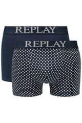 Replay Bokser spodnjice Boxer Style 7 Cuff Logo&Print 2Pcs Box - Dark Blue/Light Grey M