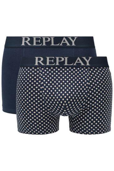 Replay Bokser spodnjice Boxer Style 7 Cuff Logo&Print 2Pcs Box - Dark Blue/Light Grey