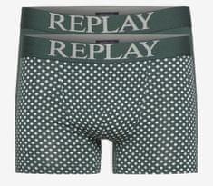 Replay Bokser spodnjice Boxer Style 7 Cuff Logo&Print 2Pcs Box - Dark Green/Light Grey XL